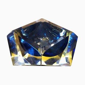 Cenicero Mid-Century Modern de cristal de Murano amarillo y azul de Seguso, 1970