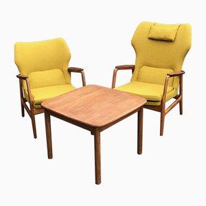 Fauteuils et Table Basse par Aksel Bender Madsen pour Bovenkamp, années 50, Set de 3