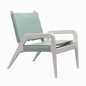 Turquoise & White Birch Armchair by Jacobo Ventura