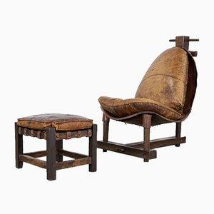 Sillón Mid-Century de madera y cuero