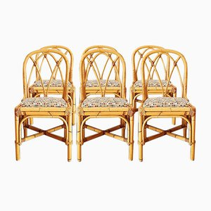 Vintage Esszimmerstühle aus Bambus, 1970er, 6er Set