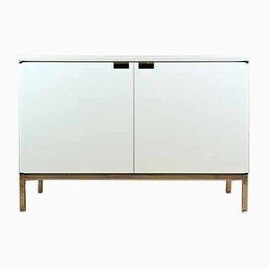 Mid-Century Sideboard mit weißer Marmorplatte & 2 Türen von Florence Knoll Bassett für Knoll Inc. / Knoll International