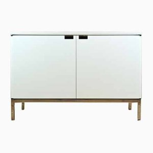 Mid-Century White Marble 2-Door 95 Sideboard Cabinet by Florence Knoll Bassett for Knoll Inc. / Knoll International