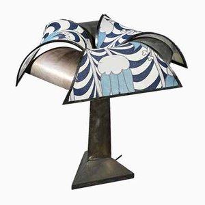 Lámpara de mesa vintage de acero cepillado, años 60