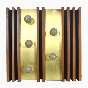 Wood, Aluminum, and Gold Sconce from Esperia, 1960s