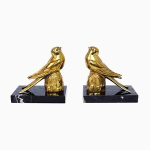 Brass and Marble Bookends, 1950s, Set of 2
