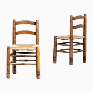 Vintage Oak and Straw Dining Chairs, 1950s, Set of 5