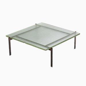 Mesa de centro vintage de vidrio y acero, años 50