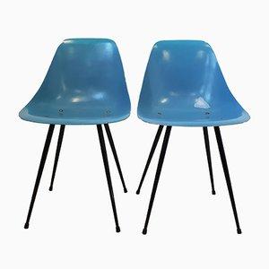 Französische Mid-Century Beistellstühle aus Stahl & Glasfaser von René Jean Caillette, 1950er, 2er Set