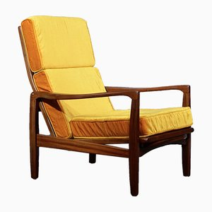 Mid-Century Danish Teak and Velvet Lounge Chair by Ib Kofod Larsen, 1960s