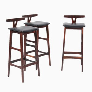 Mid-Century Rosewood Stools by Erik Buch for Dyrlund, Set of 3