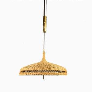 Lámpara colgante Mid-Century de ratán, años 50