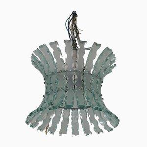 Deckenlampe aus gemeißeltem Glas von Max Ingrand für Zeroquattro, 1970er