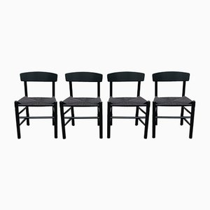 Black Lacquer J39 Dining Chairs by Børge Mogensen for Fredericia Furnitures, 1983, Set of 4