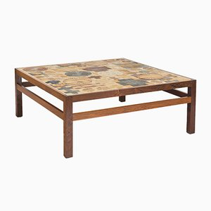 Rosewood and Tile Coffee Table by Tue Poulsen for Willy Beck, 1960s