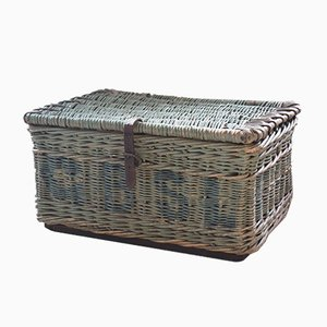 Antiker viktorianischer Wäschekorb aus Korbgeflecht