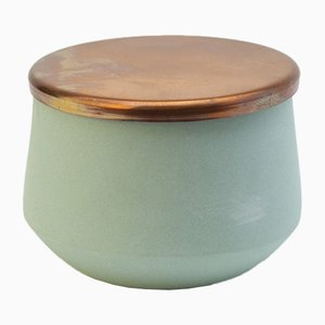 Hand-Crafted Porcelain Jar with Copper Lid by Anna Diekmann
