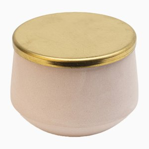 Hand-Crafted Porcelain Jar with Brass Lid by Anna Diekmann