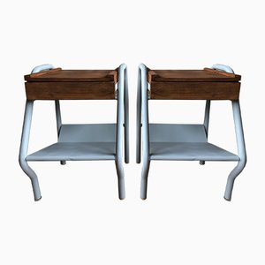 Mid-Century Wood and Metal Nightstands by Jacques Hitier for Tubauto, Set of 2