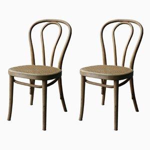 Vintage Esszimmerstühle aus Schilfrohr, 1970er, 2er Set