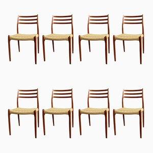 Chaises de Salon Modèle 78 et 62 Mid-Century par Niels Otto Møller pour JL Møllers, Danemark, années 60, Set de 8