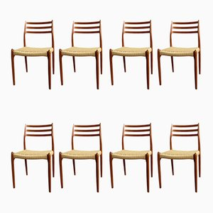 Mid-Century Danish Model 78 and 62 Dining Chairs by Niels Otto Møller for J.L. Møllers, 1960s, Set of 8