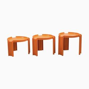 Tavolini da caffè in plastica arancione di Giotto Stoppino per Kartell, anni '70, set di 3