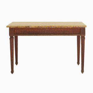 Französischer Konsolentisch aus Holz mit Marmorplatte, 18. Jh.