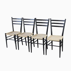 Ebonized Wood Dining Chairs, 1960s, Set of 4