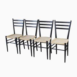 Ebonized Wood Dining Chairs, 1960s, Set of 4