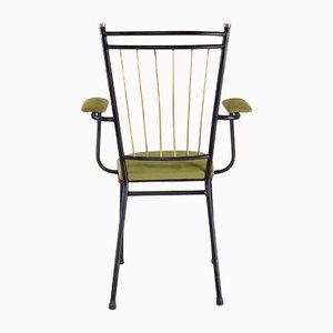 Französischer Mid-Century Armlehnstuhl aus Stahl & Messing, 1950er