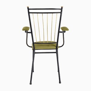 Mid-Century French Steel and Brass Armchair, 1950s