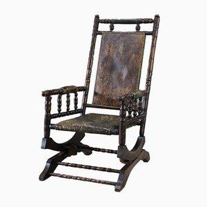 Antiker amerikanischer Schaukelstuhl mit Sitzfläche aus Leder