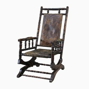 Antique American Leather Rocking Chair