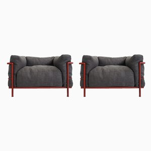 Grand Comfort Armchairs by Le Corbusier, Pierre Jeanneret, Carlotte Perriand for Cassina, 1970s, Set of 2