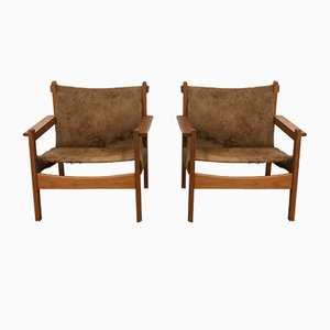 Vintage Pine and Fur Lounge Chairs, Set of 2