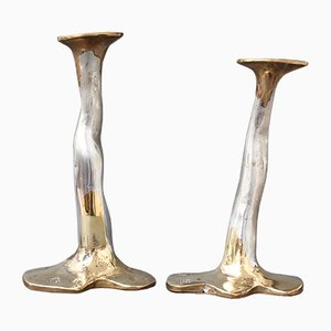Aluminum and Brass Candleholders by David Marshall, 1970s, Set of 2