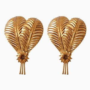 Large Gilt Metal Palm Leaf Sconces by Hans Kögl for Hans Kögl, 1970s, Set of 2