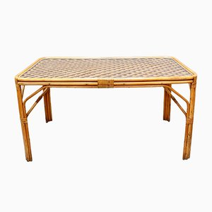 Mid-Century Italian Bamboo and Rattan Dining Table, 1960s