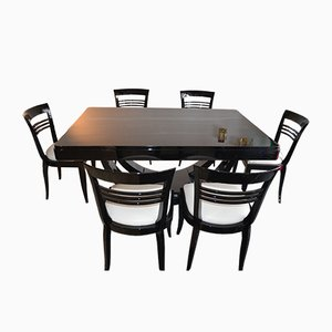 Art Deco Piano Black Dining Table & Chairs Set, 1930s