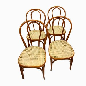 Beech and Straw Dining Chairs, 1950s, Set of 4
