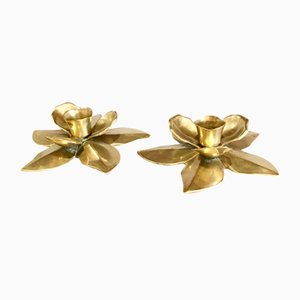 Brass Flower Candleholders, 1960s, Set of 2