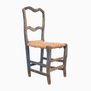 Rustikaler Esszimmerstuhl mit Sitzfläche aus Stroh, 19. Jh.