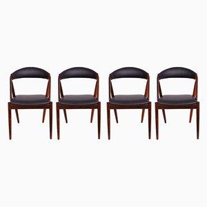 No. 31 Esszimmerstühle mit Gestell aus Palisander von Kai Kristiansen für Schou Andersen, 1960er, 4er Set