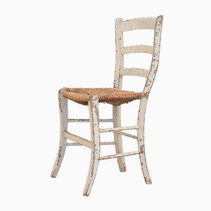 Antiker rustikaler Esszimmerstuhl mit Sitzfläche aus Stroh