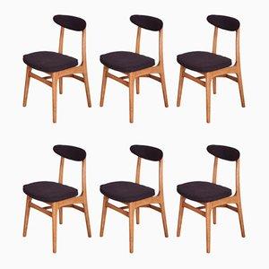 Chaises de Salon 200-190 en Hêtre et en Tissu par Rajmund Teofil Hałas, années 60, Set de 6