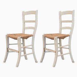 Antike rustikale Esszimmerstühle mit Sitzfläche aus Stroh, 2er Set