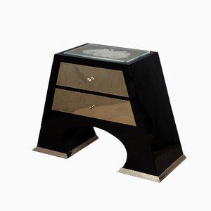 Wood, Brass, and Art Glass Dresser, 1980s