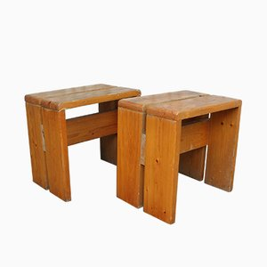 Vintage Pine Stools by Charlotte Perriand, 1960s, Set of 2
