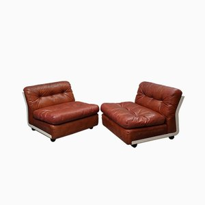 Fiberlite and Leather Armchairs by Mario Bellini for C & B Italia, 1972, Set of 2